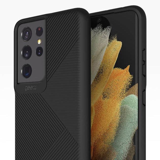 Oryginalne etui od marki Gear4 z serii Denali dla Galaxy S21 Ultra 5G, czarne.